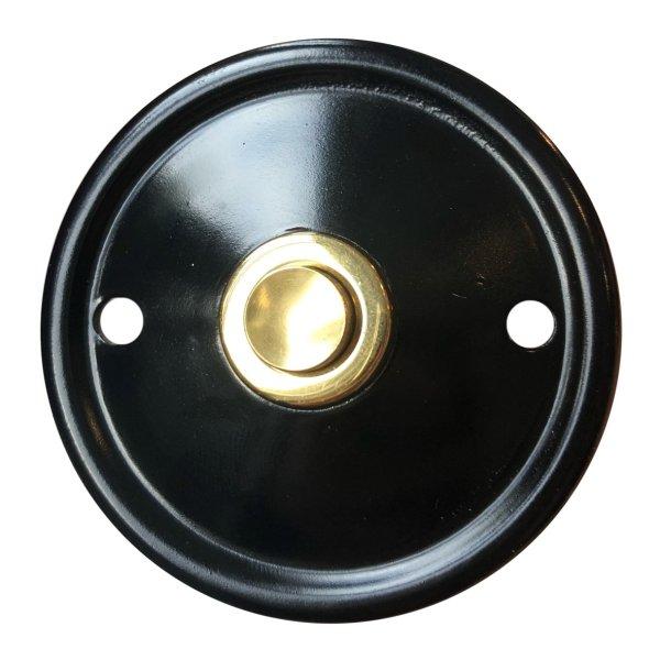 Klingelrosette in Eisen geschwärzt mit Messing. D: 60 mm Bild1