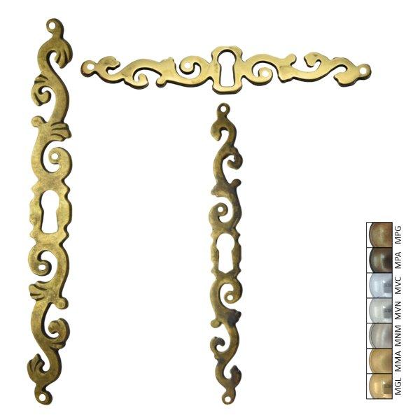 Rokoko Schlüsselschild Hochkant mit Schlüsselloch, Messing glänzend, 20 x 180 mm der Serie RK022 Bild1