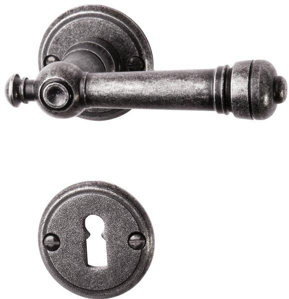 Rosettengarnitur (BB) TG057 Eisen schwarz passiviert Durchmesser: 53 mm inkl. Zubehör Bild1