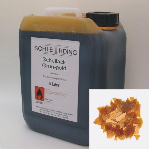 Gelöster Schellack grün-gold, 5 Liter der Serie LA003 Bild1