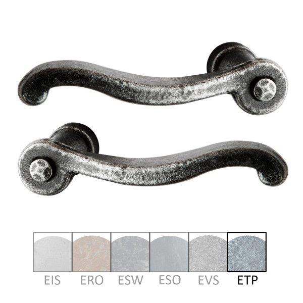 Türdrücker - Paar TD058 Eisen thermopatiniert ® Grifflänge:120 mm inkl. Zubehör Bild1