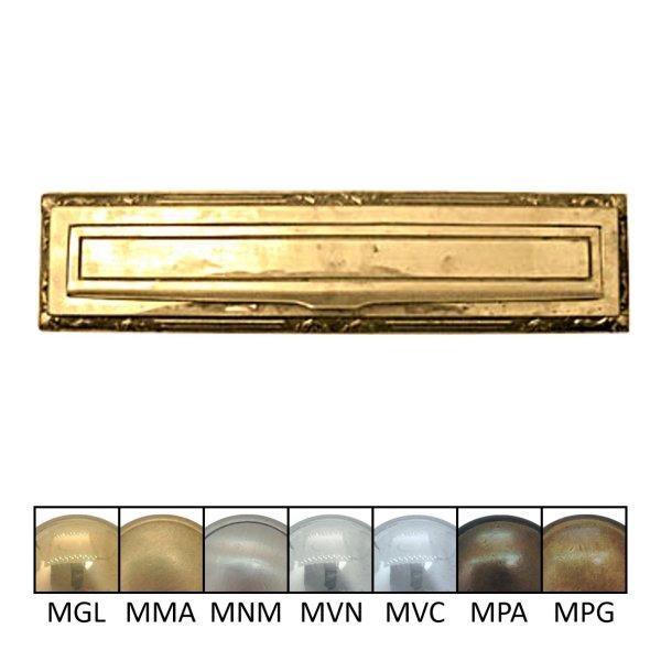 Briefklappe Material: Messing für Wohnungseingangstüre außen Außenmaße: L 310 mm x H 75 mm x T 10 mm Einwurfmaße: L 275 x H 37 mm Der Serie BK007 Bild1