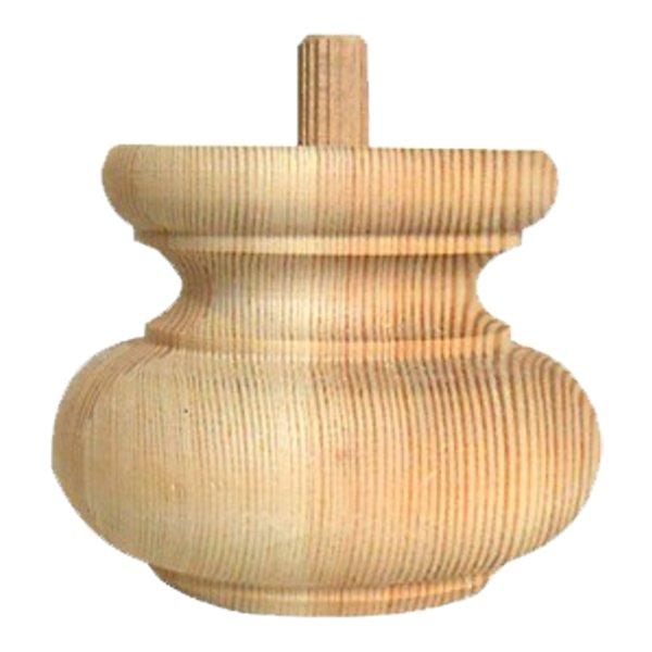 Möbelfuß mit 16 mm Bohrung inkl. Dübel in der Holzart Fichte / Tannee mit den Maßen 90x80 mm. Bild1