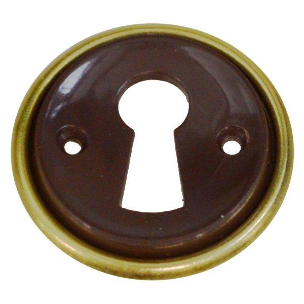 Rund mit Schlüsselloch AD001Art Deco Maße: D32 mm Messing glänzend/Braun Bild1