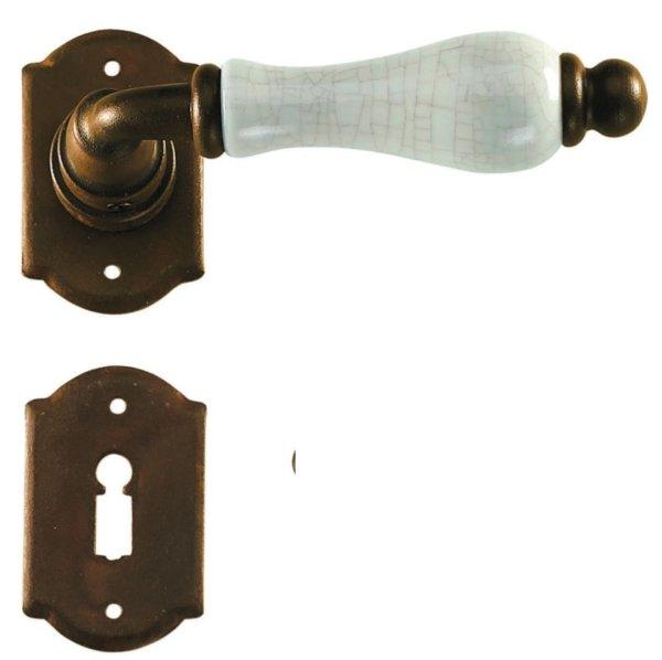 Rosettengarnitur in Eisen grau (BB). Rosette: 64x40 mm, Griff: 125 mm Bild1
