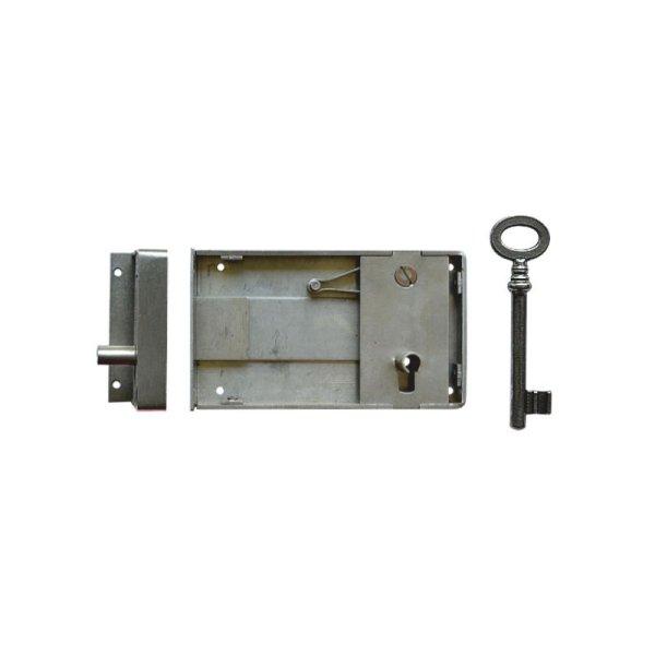 Aufschraubschloss AS010 Eisen gebürstet Dornmaß: D100 mm Bild1