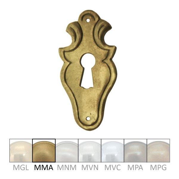 Rokoko Schlüsselschild Hochkant mit Schlüsselloch, Messing matt, 35 x 70 mm der Serie RK001 Bild1