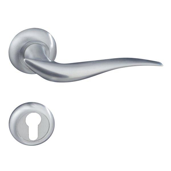 Rosettengarnitur in Messing verchromt matt (PZ). Rosette: 48 mm, Griff: 130 mm Bild1