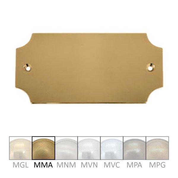 Namensschild für Gravur, Messing  Material: Messing ohne Lack  Maße: B 100 mm x H 45 mm x T 3 mm  Gravur auf Anfrage  Der Serie NS006  Bild1