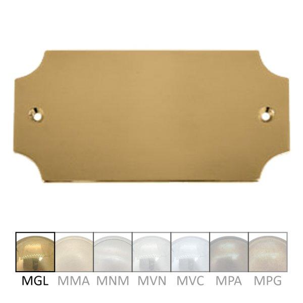 Namensschild für Gravur, Messing  Material: Messing ohne Lack  Maße: B 115 mm x H 58 mm x T 3 mm  Gravur auf Anfrage  Der Serie NS006  Bild1
