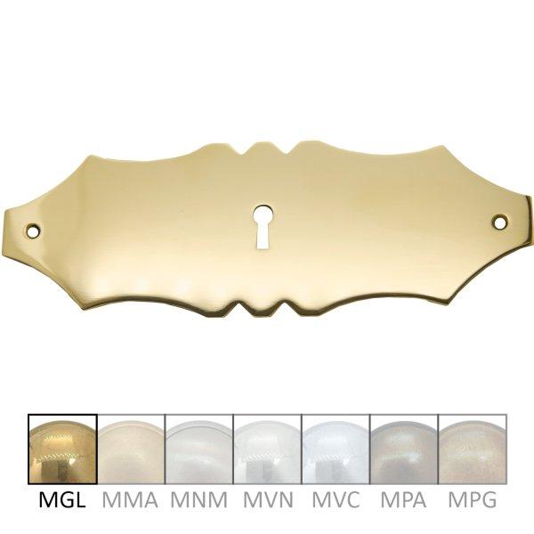 Schlüsselschild quer mit Schlüsselloch, Messing glänzend, 180 x 60 mm Bild1